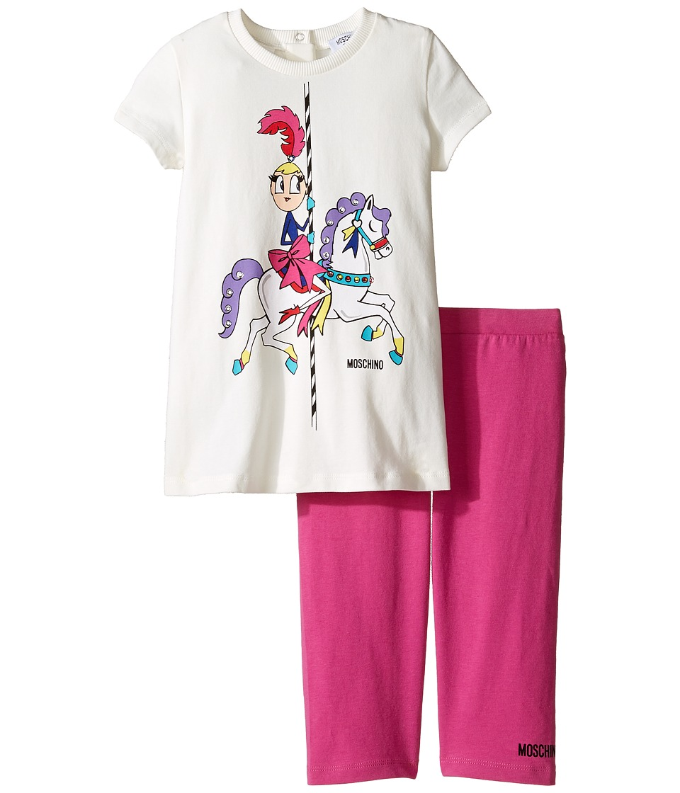 Moschino Kids - Carousel Graphic T-Shirt Leggings Set (Infant/Toddler) (Cloud) Girl's Active Sets