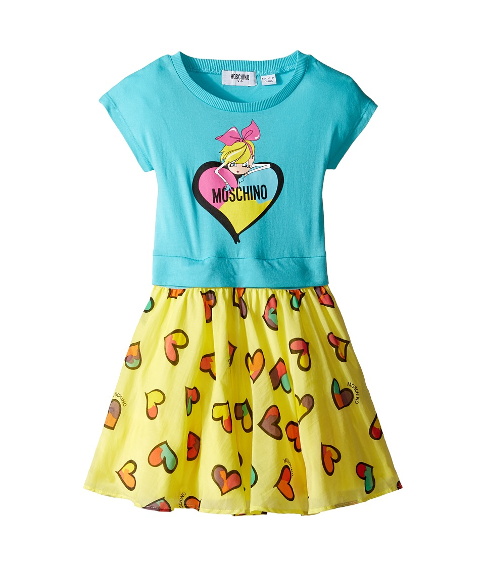Moschino Kids - Heart Graphic T-Shirt Skirt Set (Toddler/Little Kids) (Sky) Girl's Active Sets