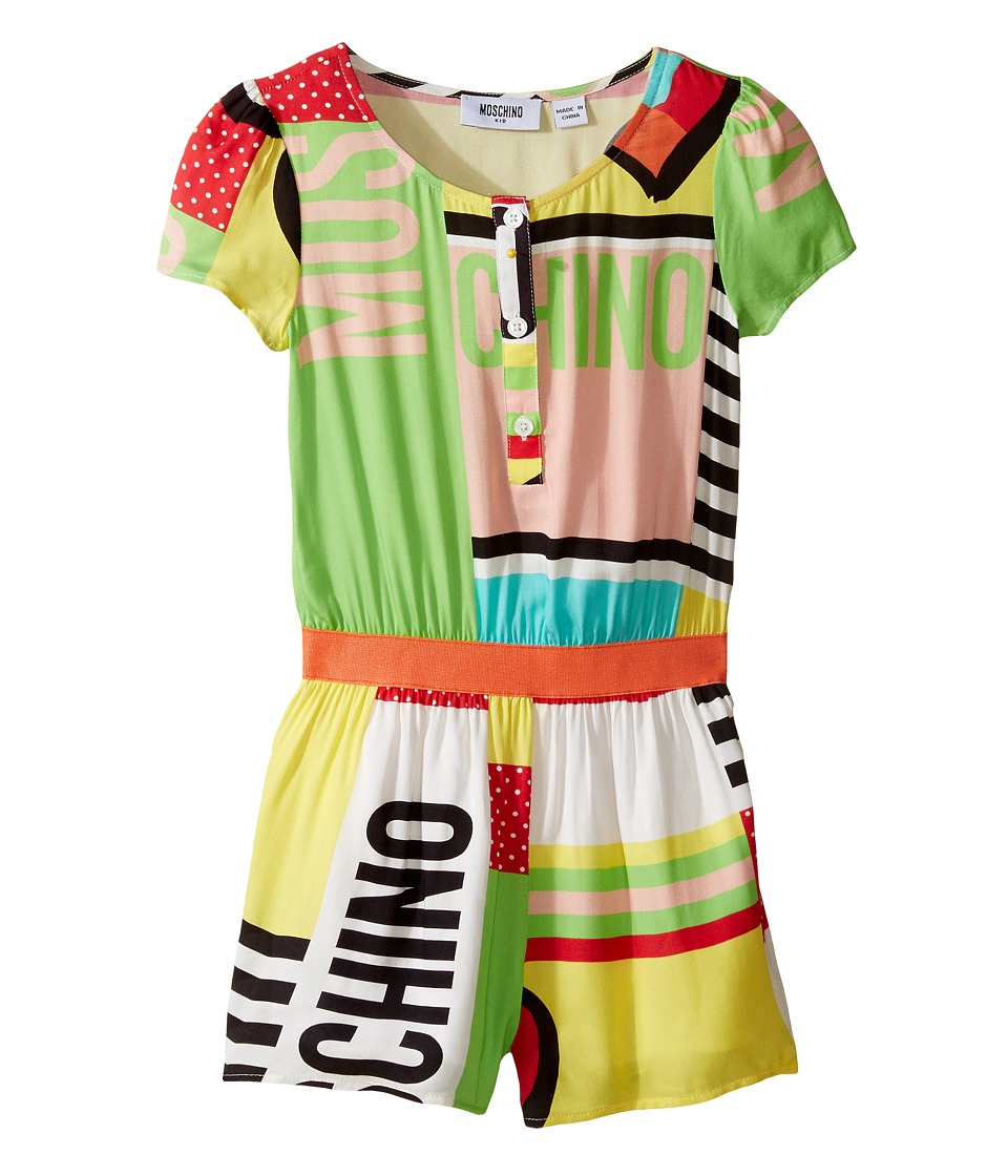 Moschino Kids - Short Sleeve All Over Print Logo Romper (Little Kids/Big Kids) (Multi) Girl's Jumpsuit & Rompers One Piece