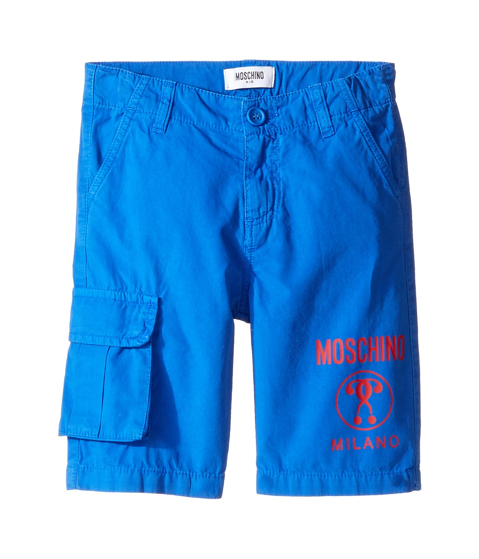 Moschino Kids - Shorts w/ Side Pocket Logo Detail (Little Kids/Big Kids) (Surf Blue) Boy's Shorts
