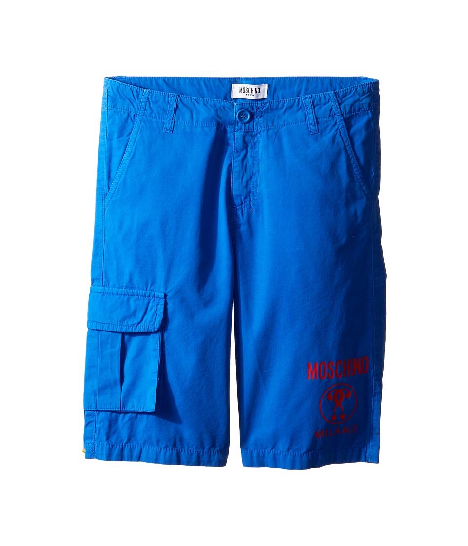 Moschino Kids - Shorts w/ Side Pocket Logo Detail (Big Kids) (Surf Blue) Boy's Shorts