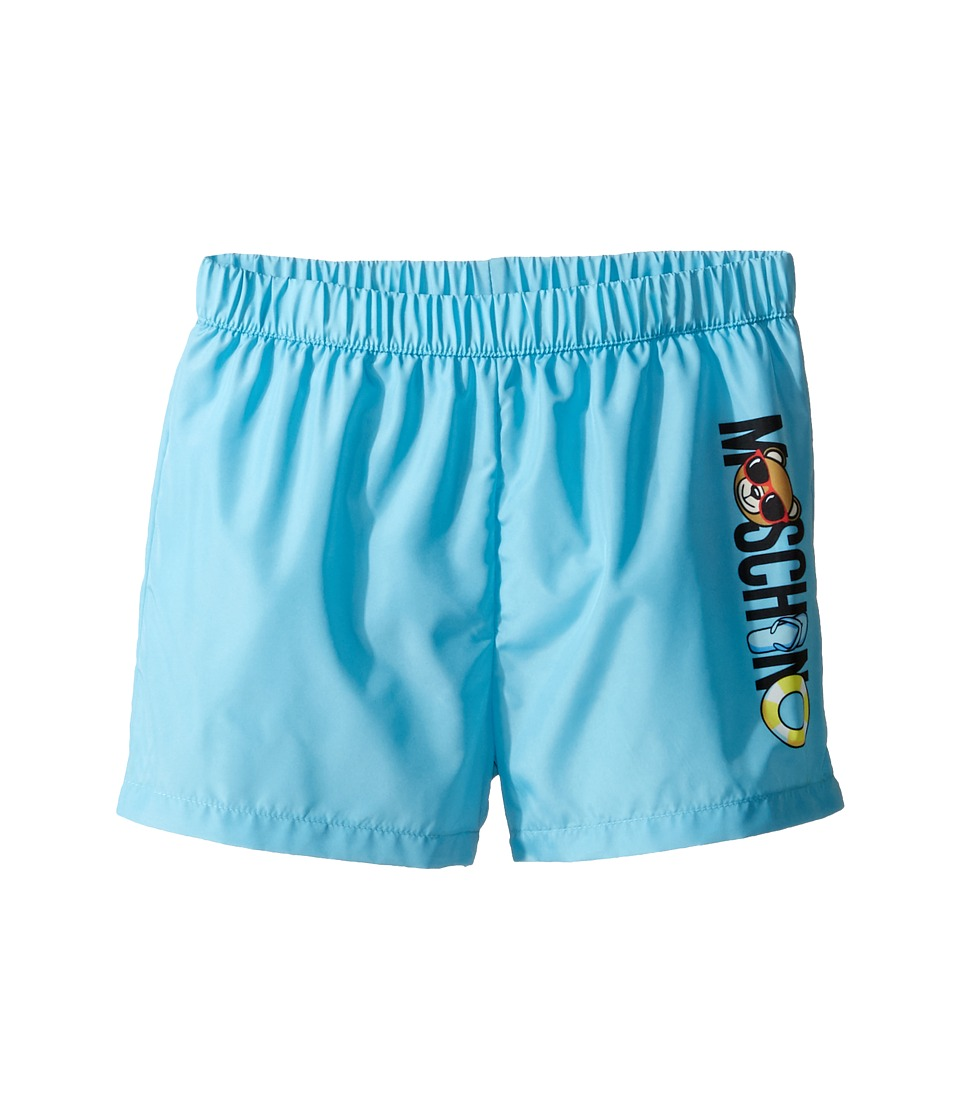 Moschino Kids - Beach Logo Swim Shorts (Infant/Toddler) (Light Blue) Boy's Swimwear