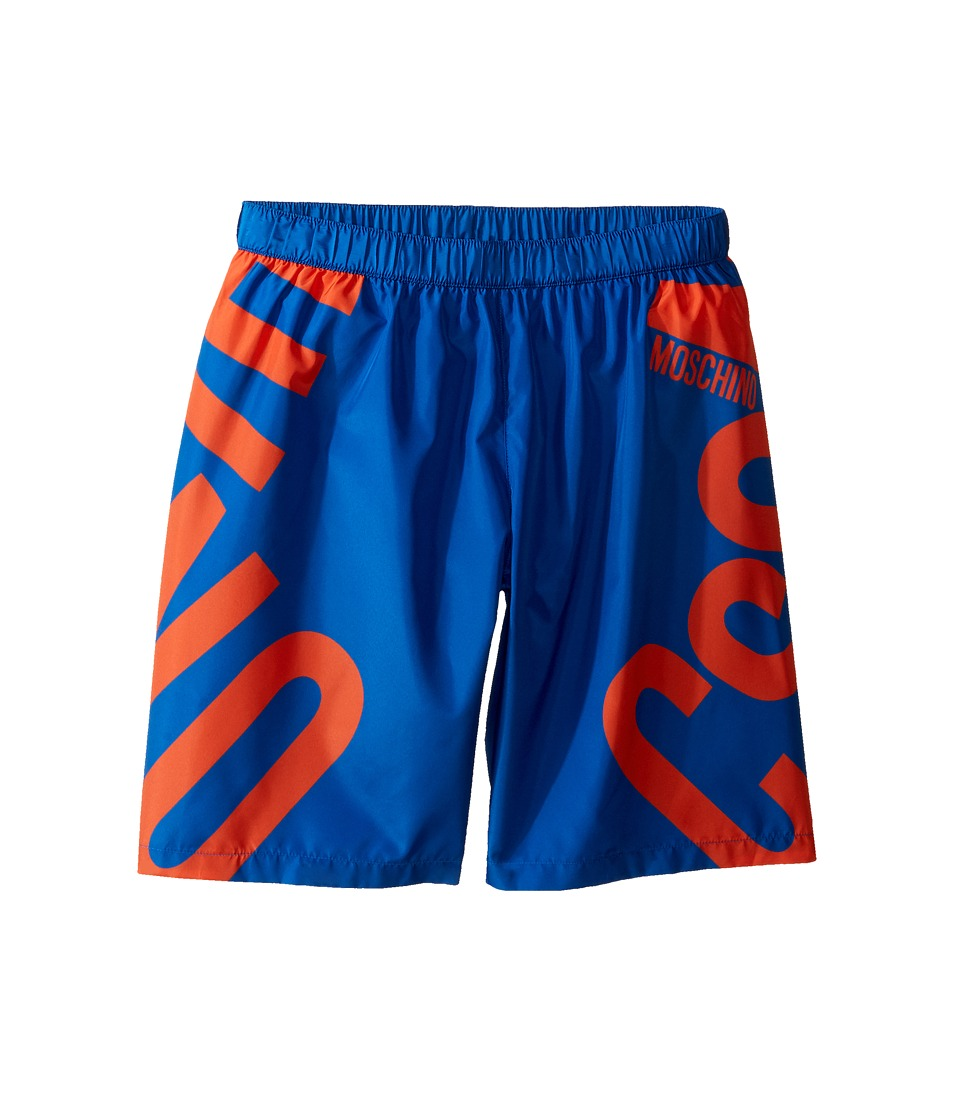Moschino Kids - Logo Graphic Swim Shorts (Big Kids) (Surf Blue) Boy's Swimwear