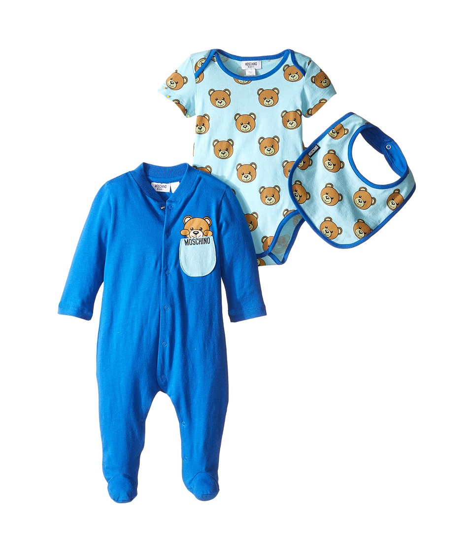 Moschino Kids - Teddy Bear Footie Body and Bib Set (Infant) (Blue/Blue) Boy's Jumpsuit & Rompers One Piece