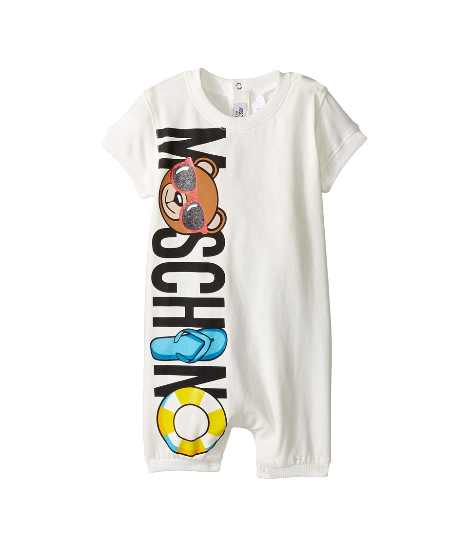 Moschino Kids - Graphic Logo Short Sleeve Romper in Gift Box (Infant) (Cloud) Kid's Jumpsuit & Rompers One Piece