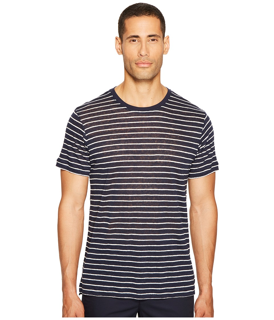 ATM Anthony Thomas Melillo - Striped Linen Jersey Oversized Crew (Midnight/White Stripe) Men's T Shirt