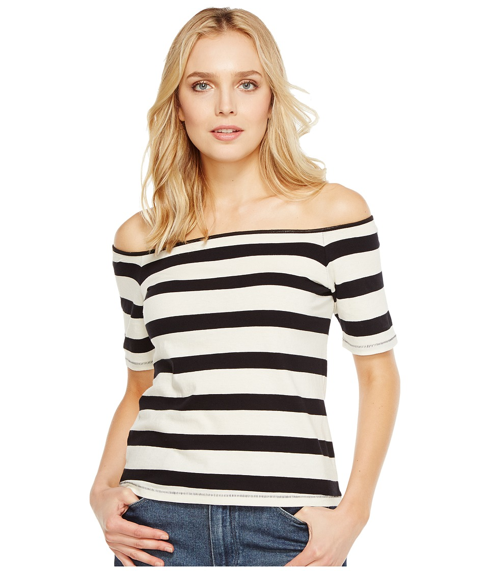 Splendid - Seaboard Stripe Off Shoulder Top (Black/Cream) Women's Clothing