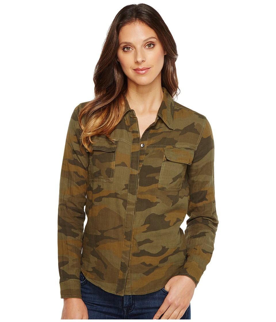 Splendid - Camo Print Double Cloth Shirt (Military Olive) Women's Long Sleeve Button Up
