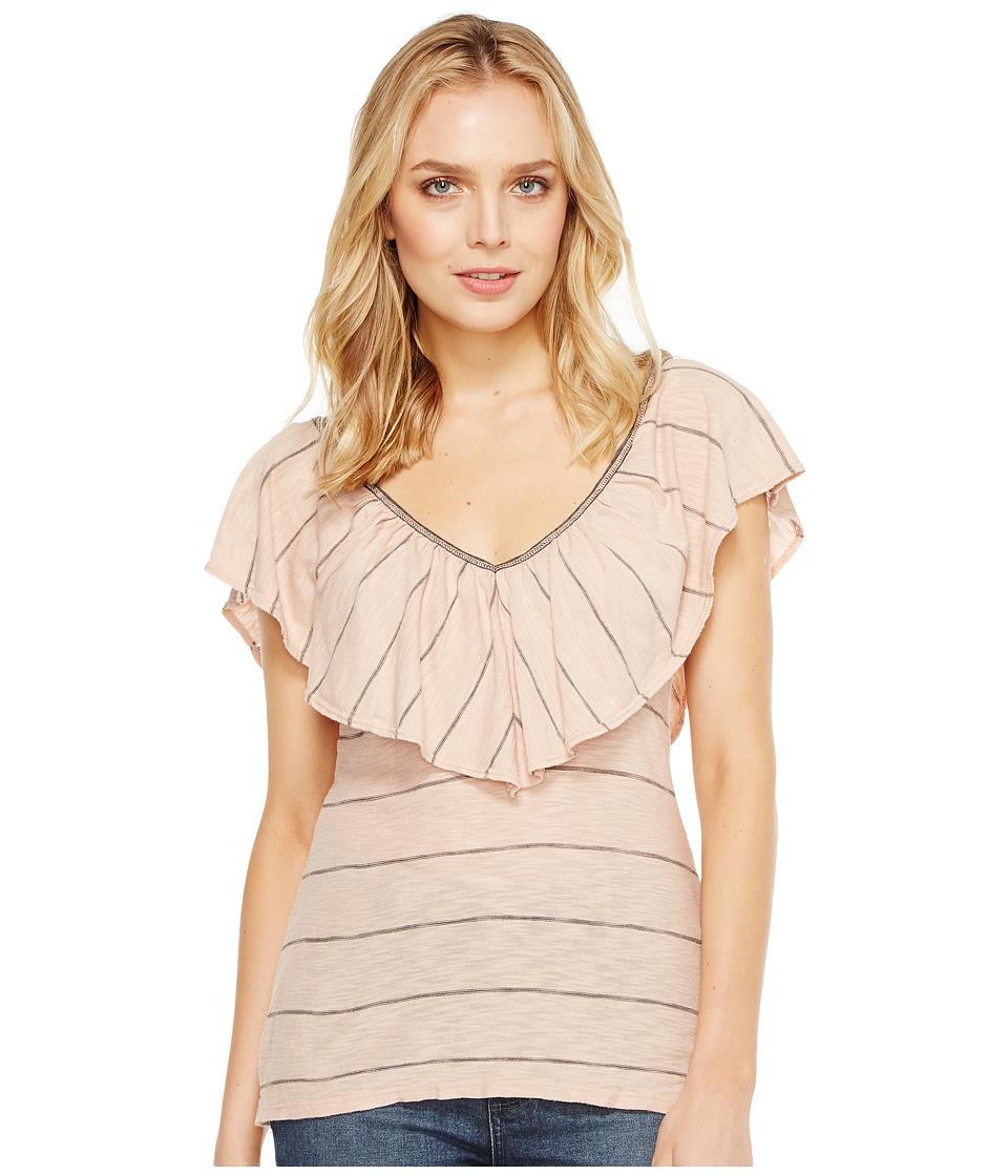 Splendid - Ruffle Tee (Pink/Beige) Women's T Shirt