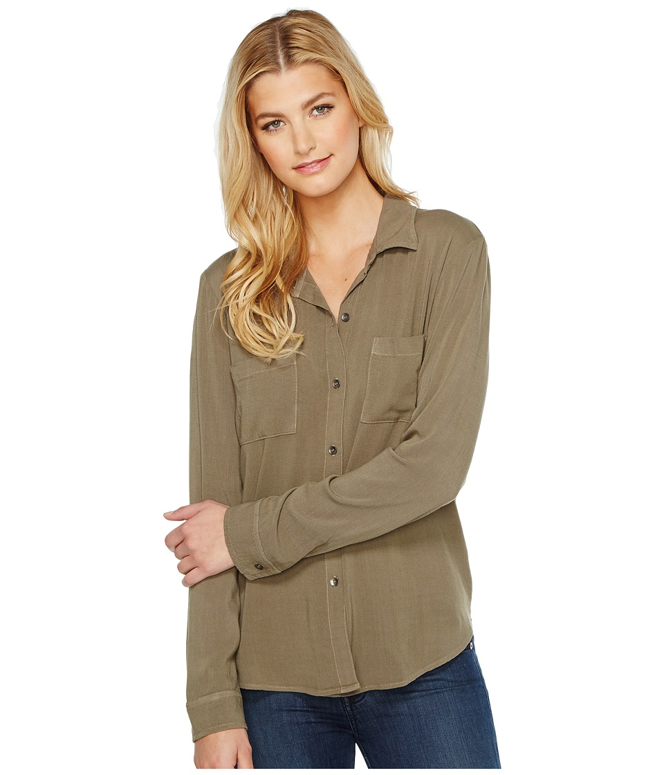 Splendid - Button Up Shirt (Military Olive) Women's Long Sleeve Button Up
