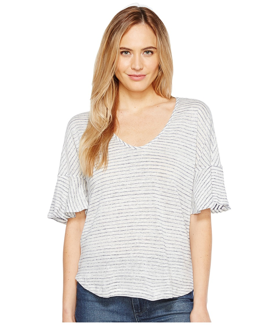Splendid - V-Neck Flutter Sleeve Top (White/Navy) Women's Clothing
