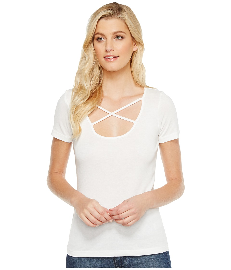 Splendid - Short Sleeve Crisscross Tee (White) Women's T Shirt
