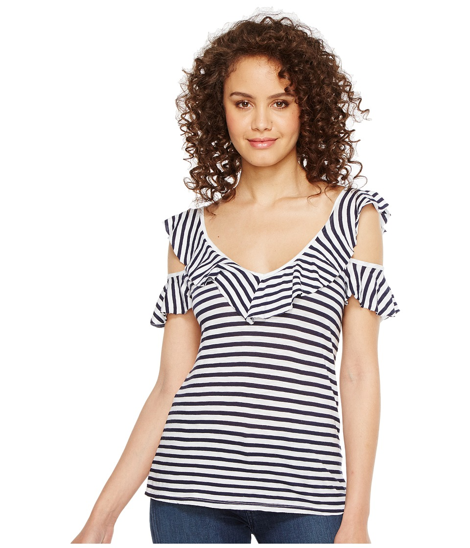 Splendid - Ruffle Stripe Tee (White/Navy) Women's T Shirt