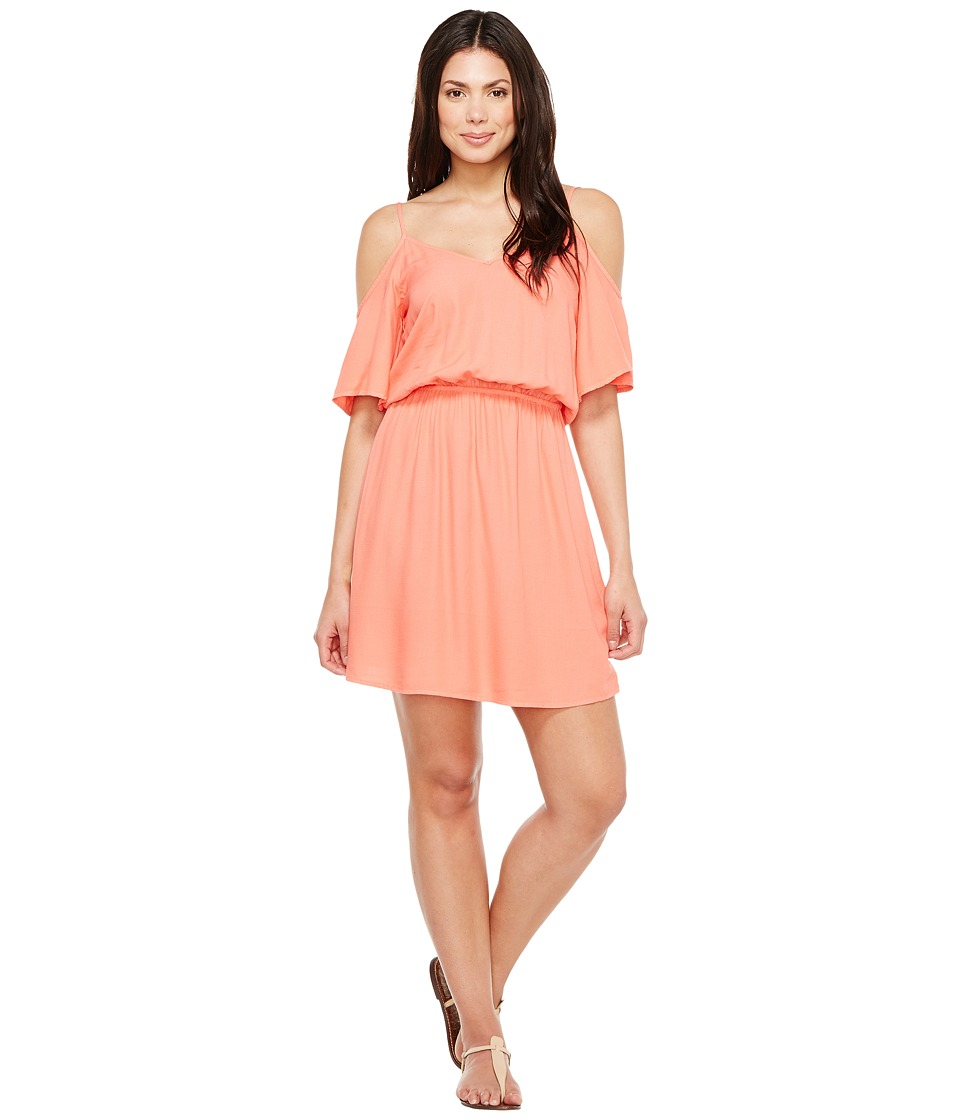 Splendid - Rayon Crosshatch Cold Shoulder Dress (Tropical Peach) Women's Dress