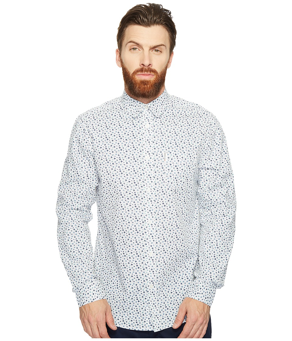 Ben Sherman - Long Sleeve Mod Print Geo Shirt (Bright White) Men's Clothing