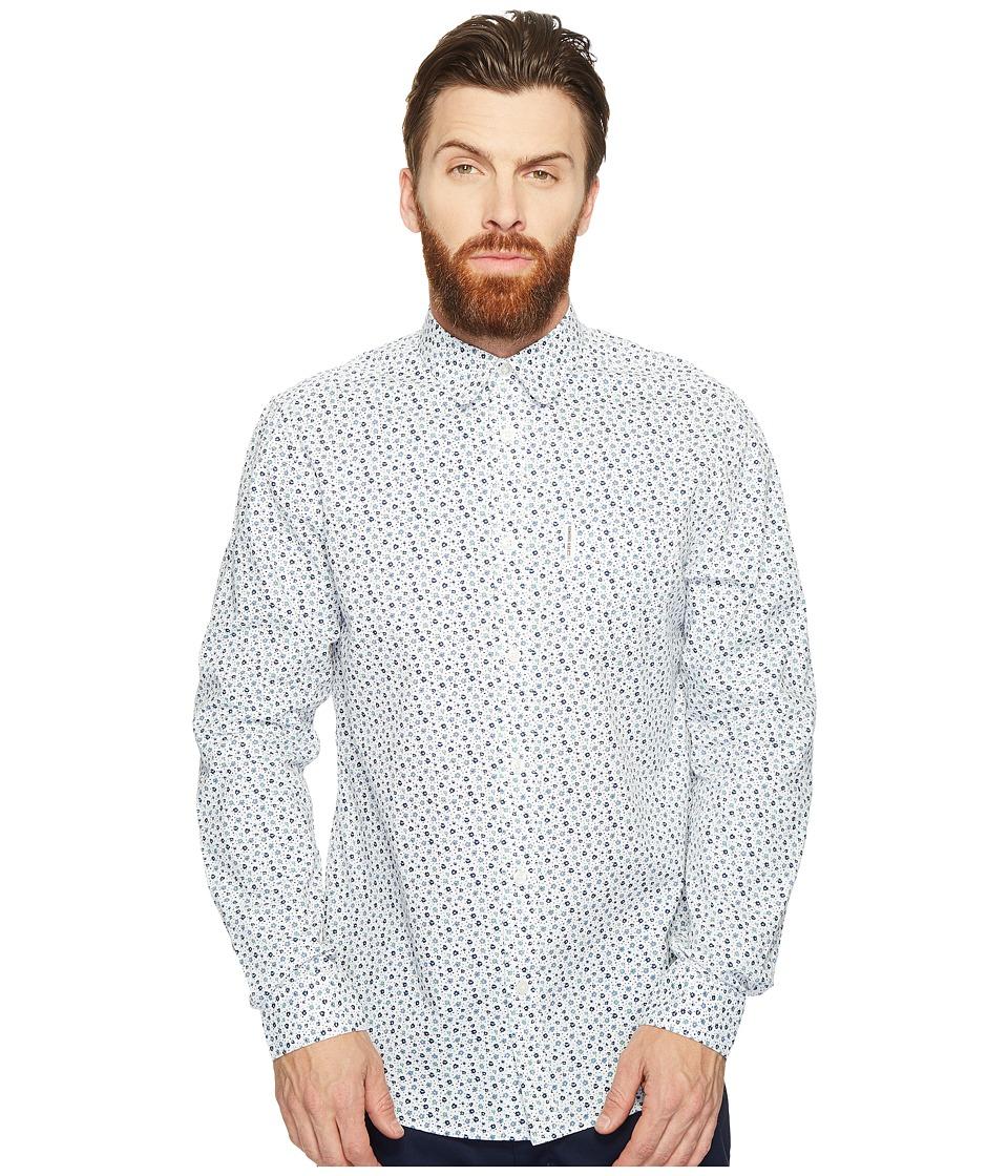 Ben Sherman - Long Sleeve Mod Print Geo Shirt (Bright White) Men's Clothing