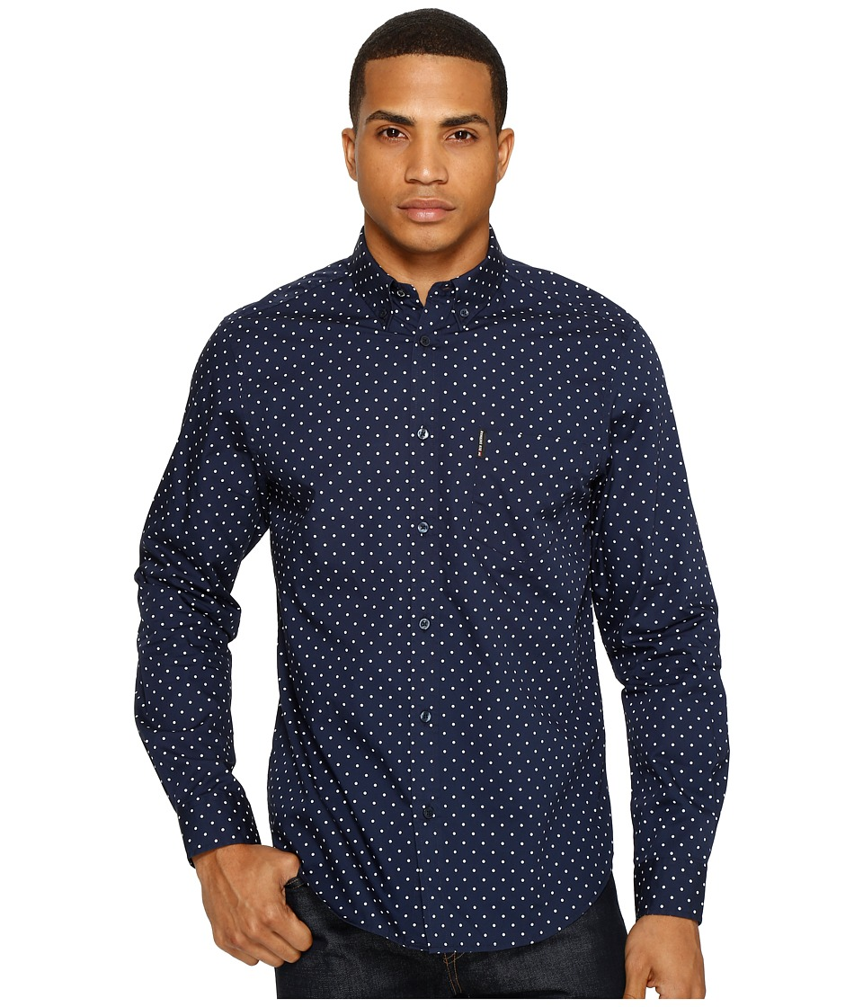 Ben Sherman - Long Sleeve Classic Polka Dot Shirt (Navy Blazer) Men's Clothing