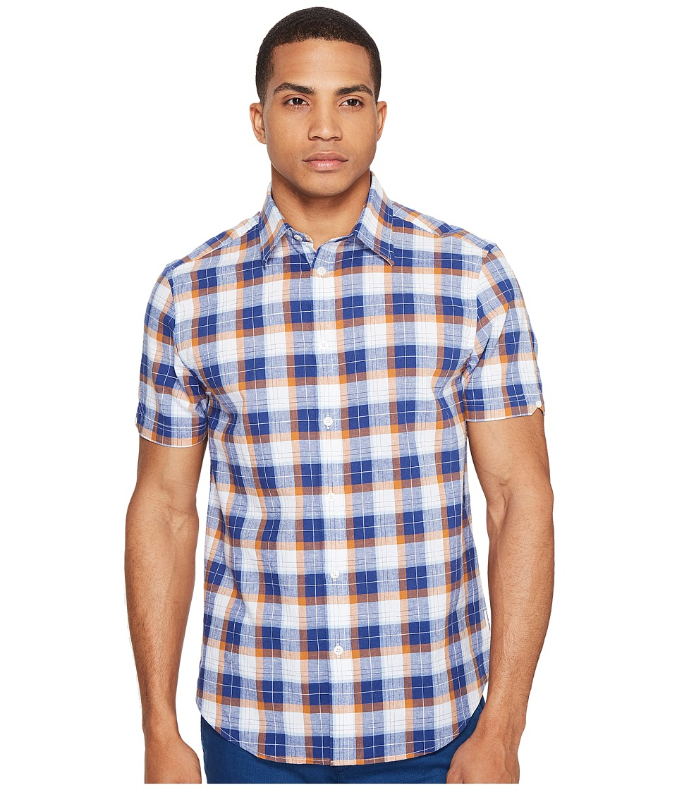 Ben Sherman - Short Sleeve Large Plaid Slub Shirt (Tobbaco) Men's Clothing