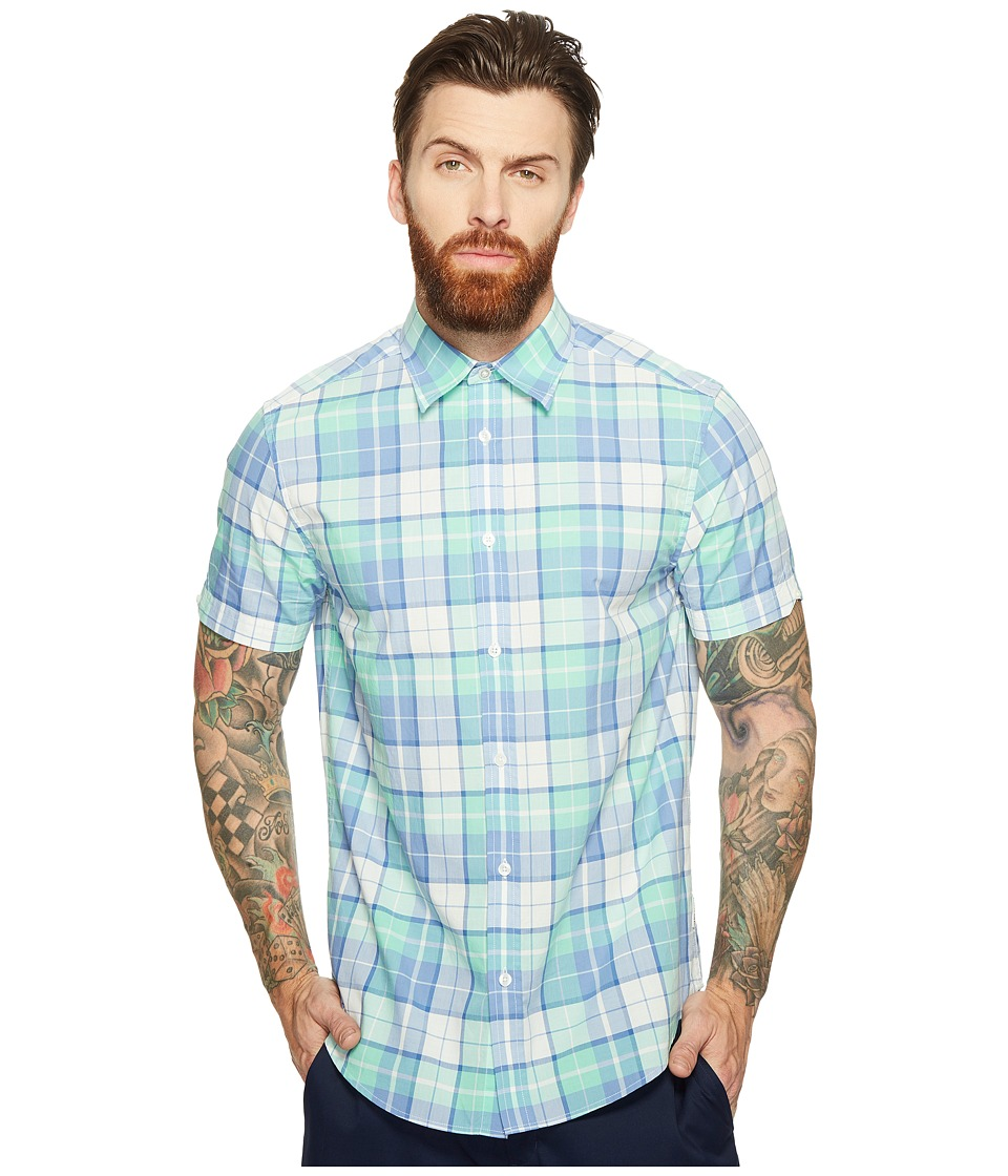 Ben Sherman - Short Sleeve Modern Madras Shirt (Dark Cornflower) Men's Clothing