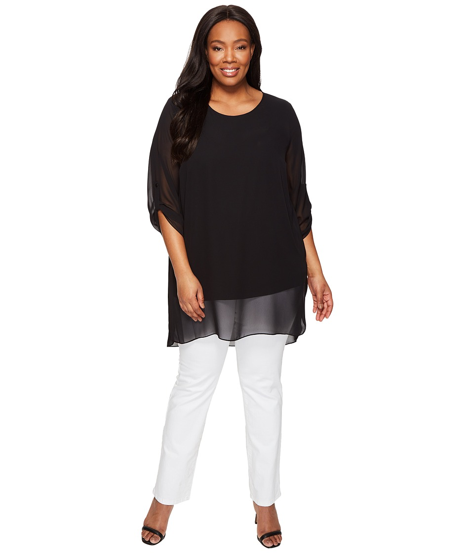 Vince Camuto Specialty Size - Plus Size Roll Tab 3/4 Sleeve Chiffon Overlay Blouse (Rich Black) Women's Blouse