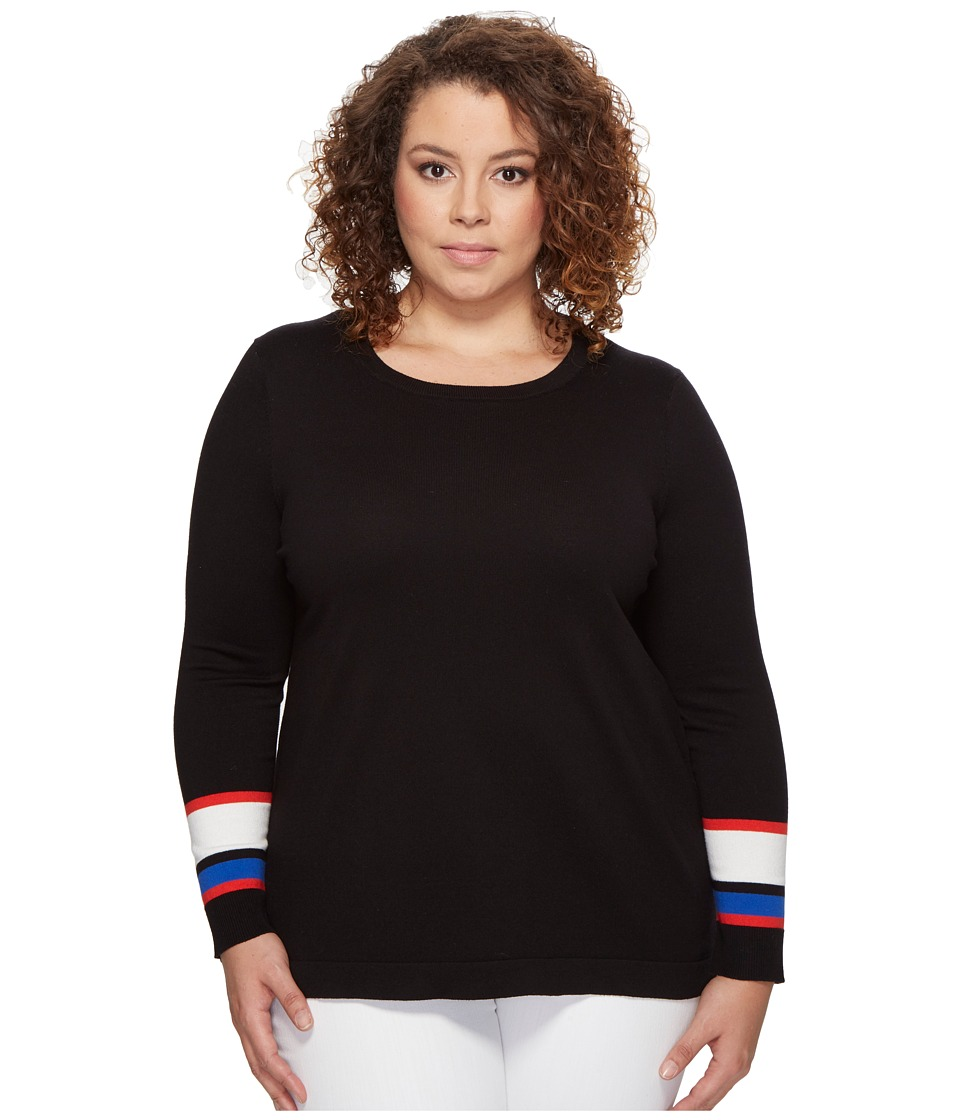 Vince Camuto Specialty Size - Plus Size Long Sleeve Striped Cuff Sweater (Rich Black) Women's Sweater