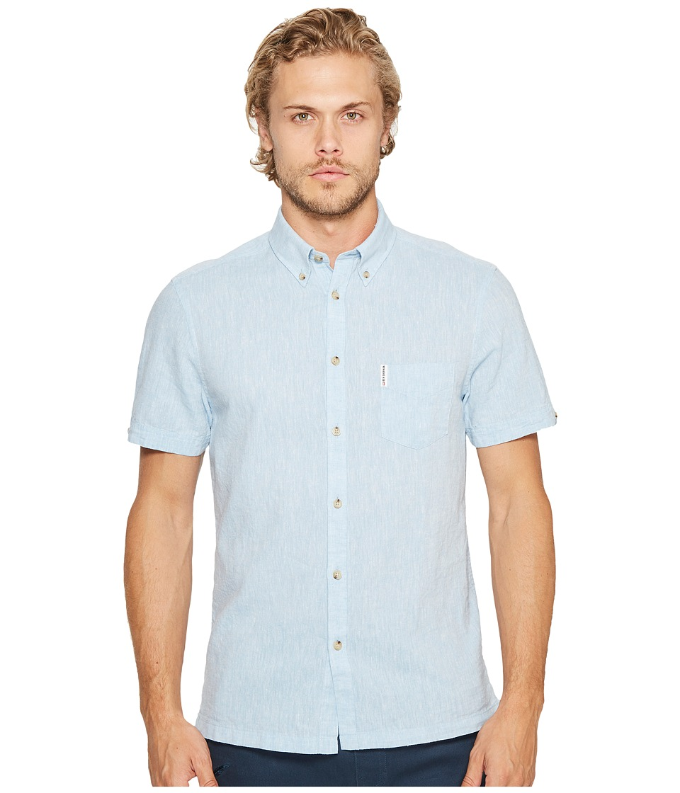 Ben Sherman - Short Sleeve Mod Plain/Linen Summer Shirt (Sky Blue) Men's Clothing