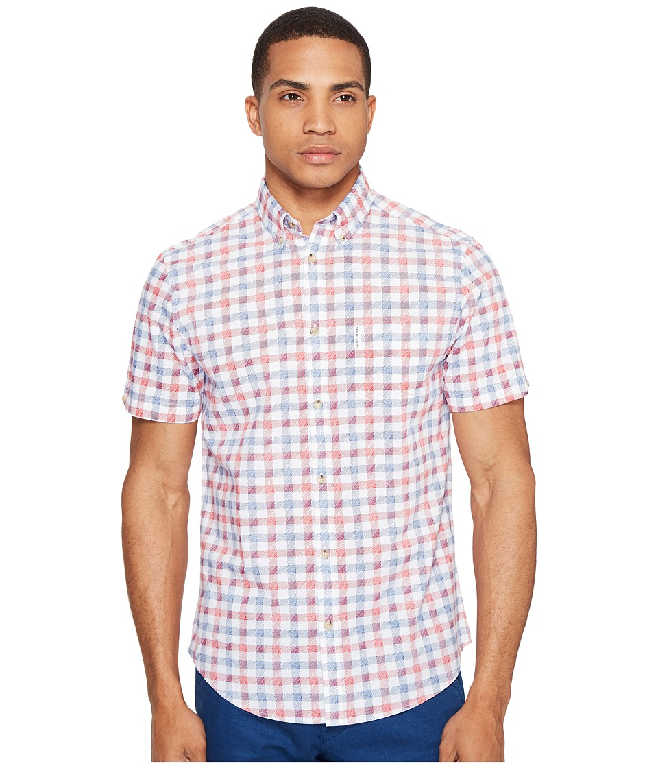 Ben Sherman - Short Sleeve Mod Check Shirt (Bright White) Men's Clothing