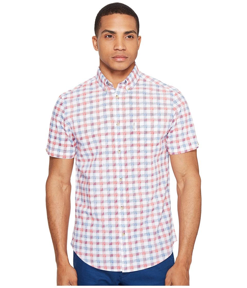 Ben Sherman - Short Sleeve Mod Check Shirt (Bright White) Men's Clothing