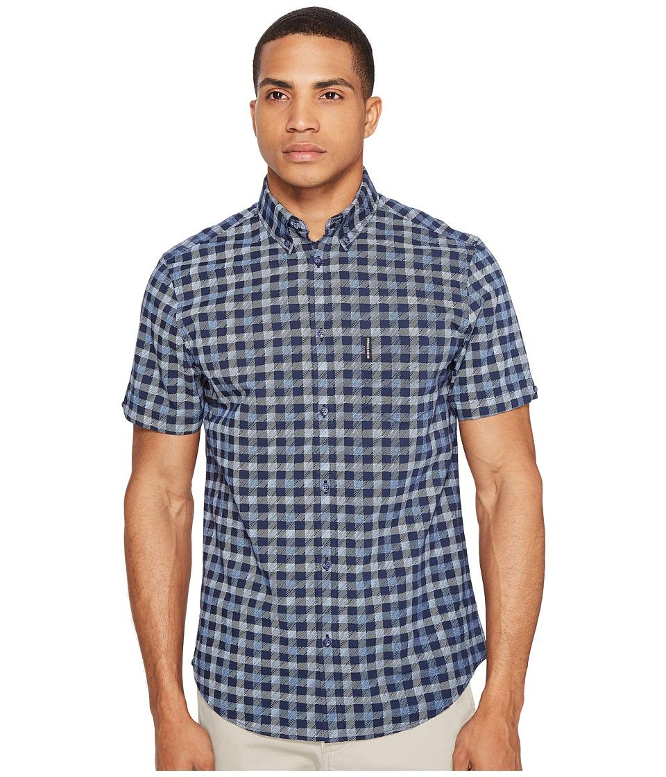 Ben Sherman - Short Sleeve Mod Check Shirt (Navy Blazer) Men's Clothing