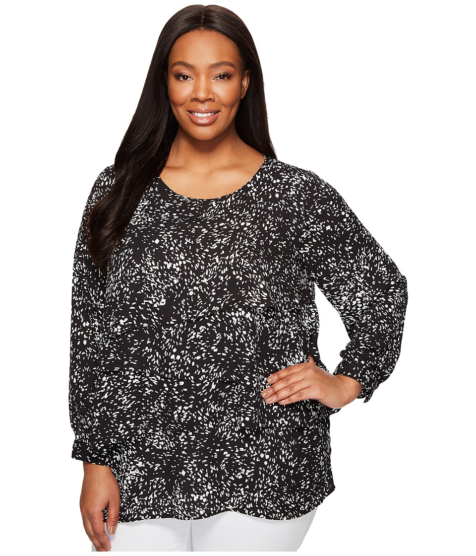 Vince Camuto Specialty Size - Plus Size Long Sleeve Textural Reef Asymmetrical Layered Blouse (Rich Black) Women's Blouse