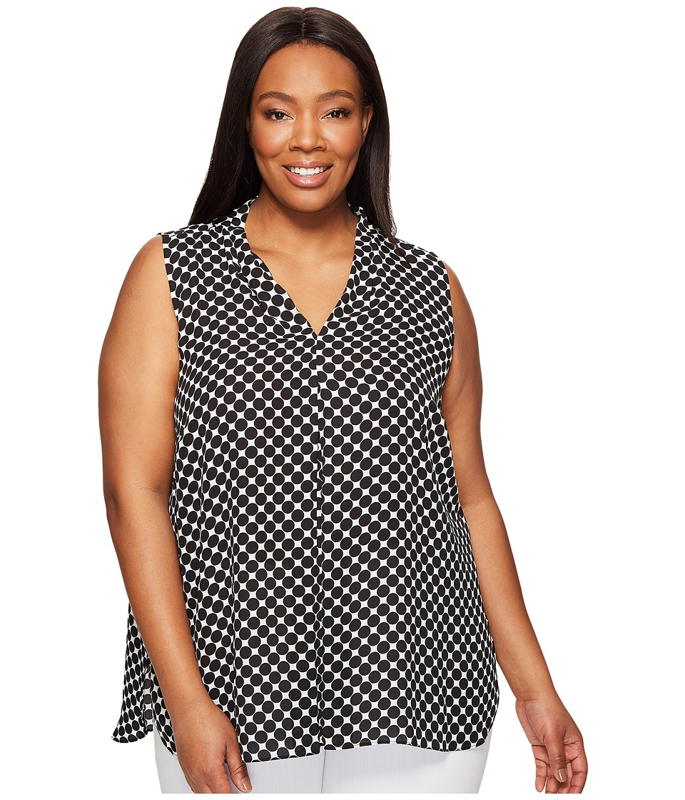 Vince Camuto Specialty Size - Plus Size Sleeveless Nautical Dots Invert Pleat Blouse (Rich Black) Women's Blouse