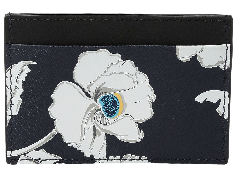 Jack Spade - Poppy Floral Credit Card Holder (Navy) Wallet Handbags