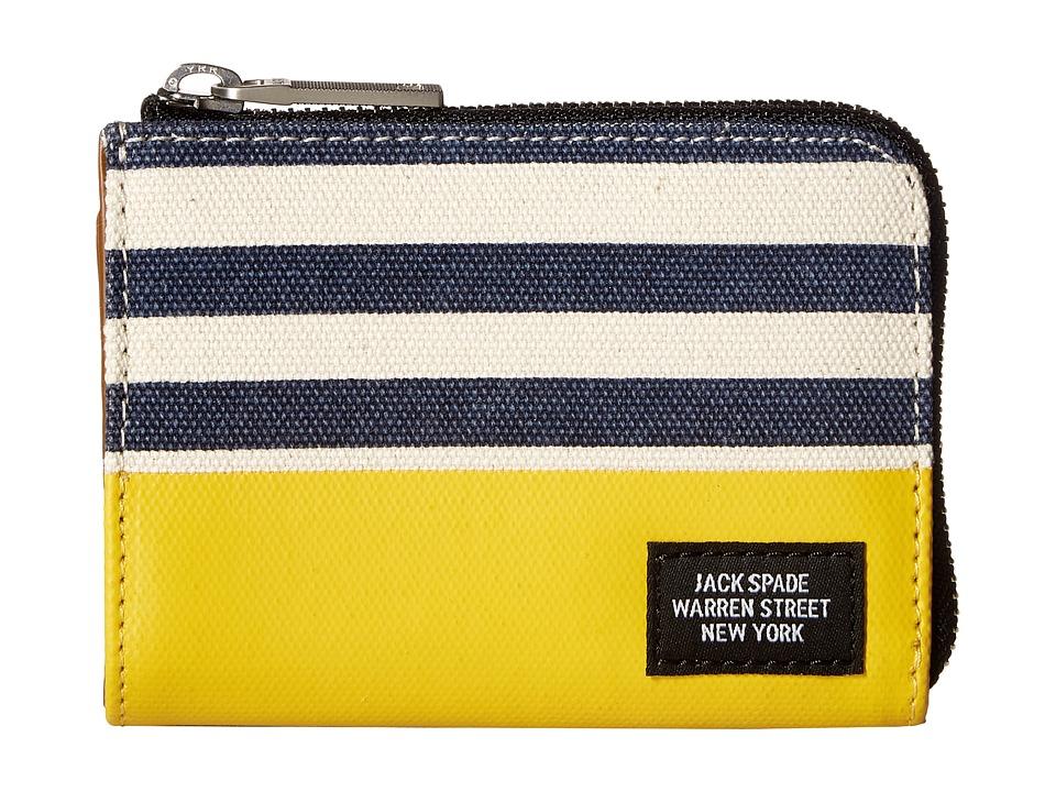 Jack Spade - Stripped Dipped Coin Wallet (Natural/Navy/Yellow) Wallet Handbags