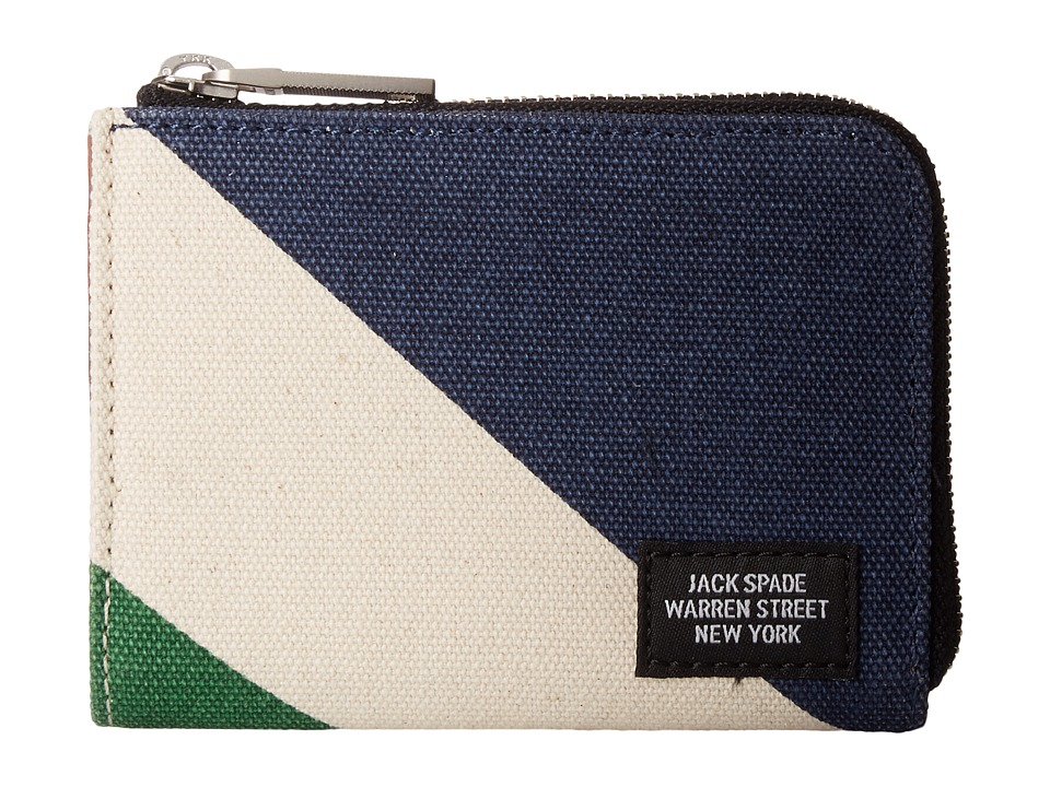 Jack Spade - Diagonal Dipped Coin Wallet (Natural/Navy) Wallet Handbags