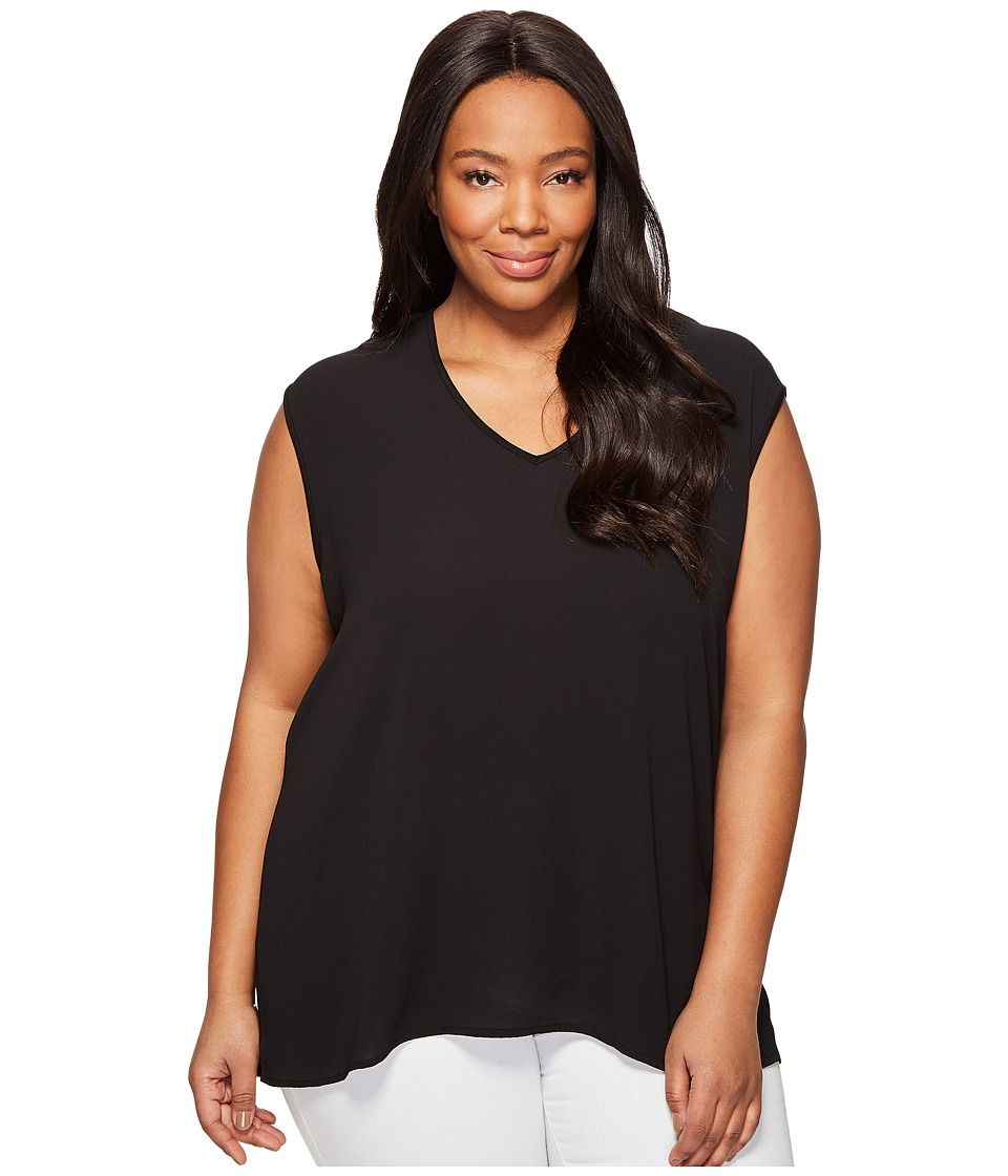 Vince Camuto Specialty Size - Plus Size Extend Shoulder V-Neck Mix Media Textured Top (Rich Black) Women's Clothing