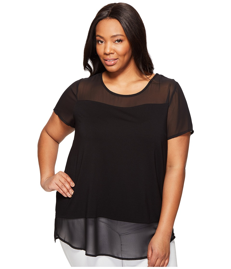 Vince Camuto Specialty Size - Plus Size Short Sleeve Top w/ Poly Chiffon Yoke and Hem (Rich Black) Women's Clothing