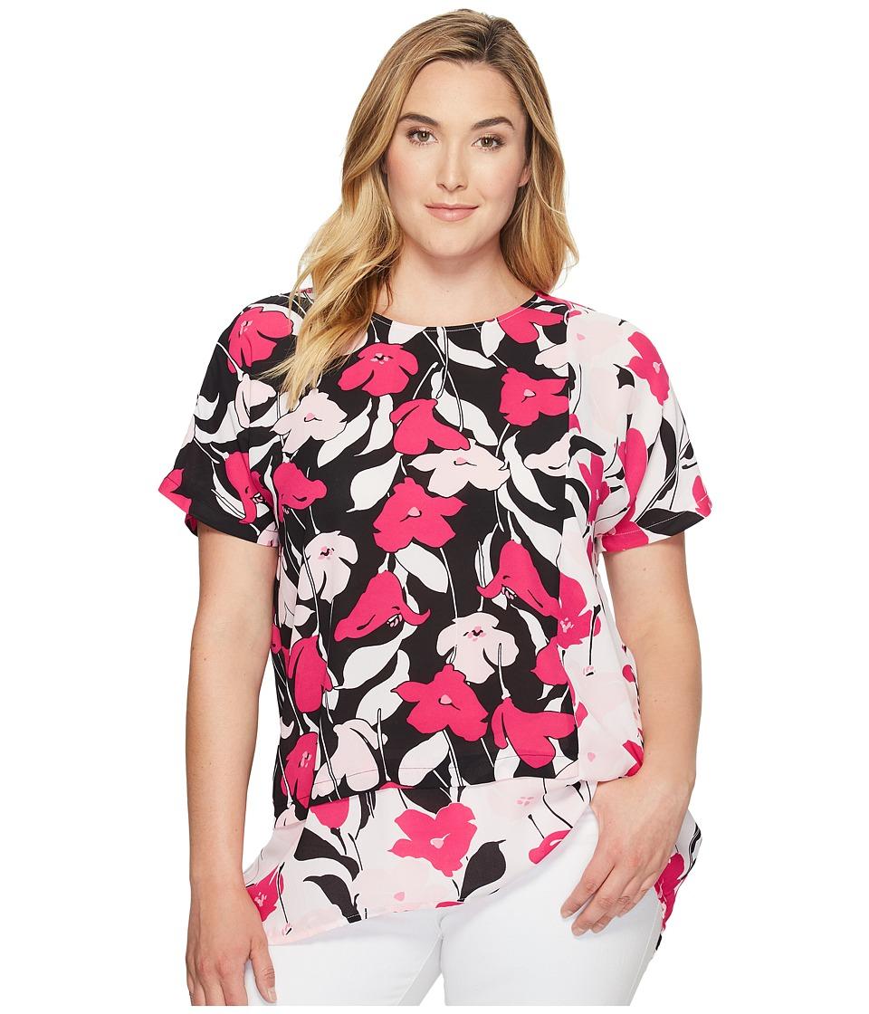 Vince Camuto Specialty Size - Plus Size Extend Shoulder Flower Wave Color Blocked Blouse (New Ivory) Women's Blouse
