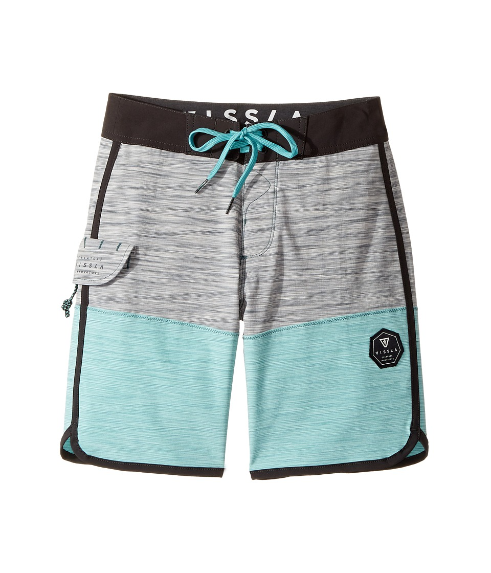 VISSLA Kids - Spaced Diver 4-Way Stretch Space Dye Boardshorts 17 (Big Kids) (Teal) Boy's Swimwear