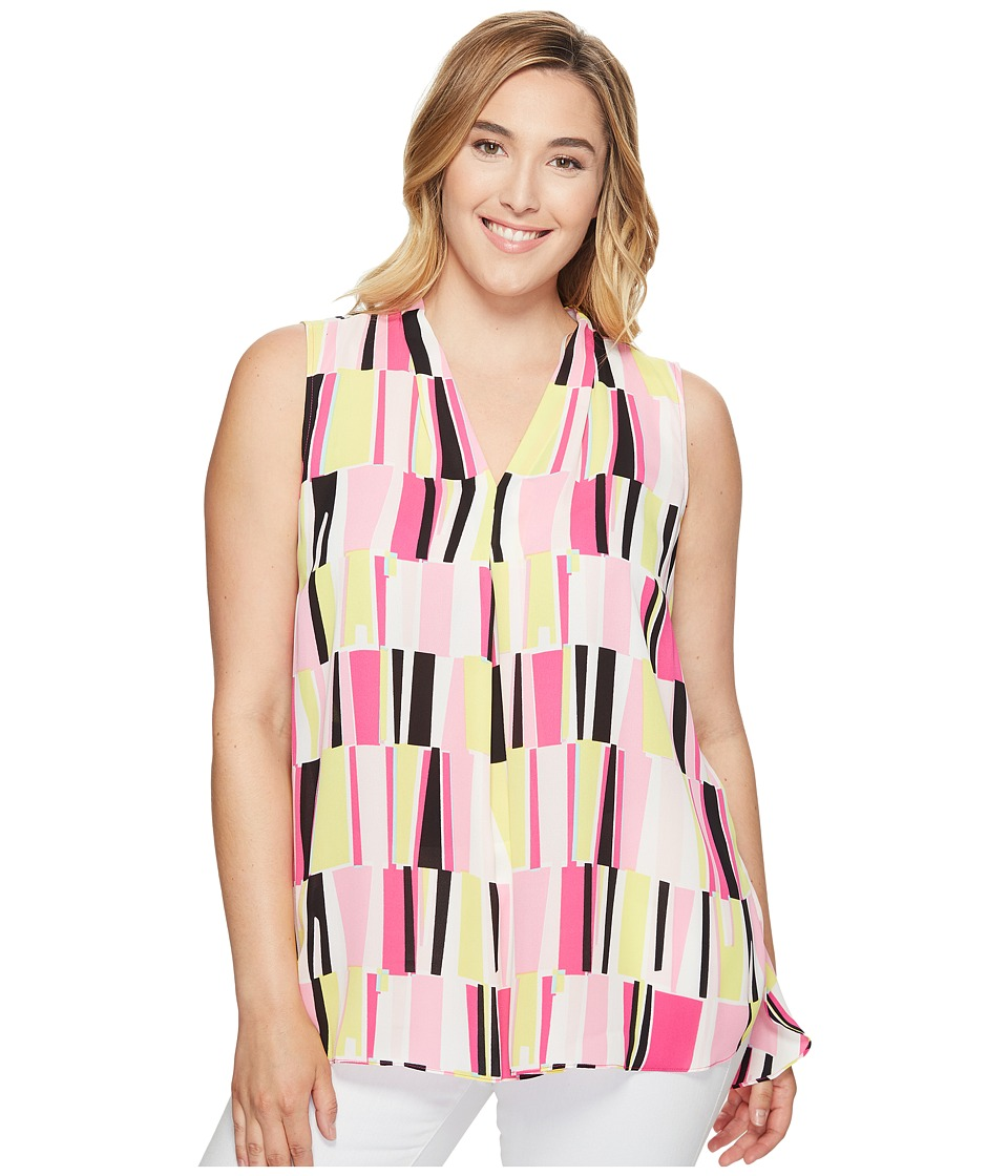 Vince Camuto Specialty Size - Plus Size Sleeveless Charming Graphic Invert Pleat Blouse (Electric Pink) Women's Blouse