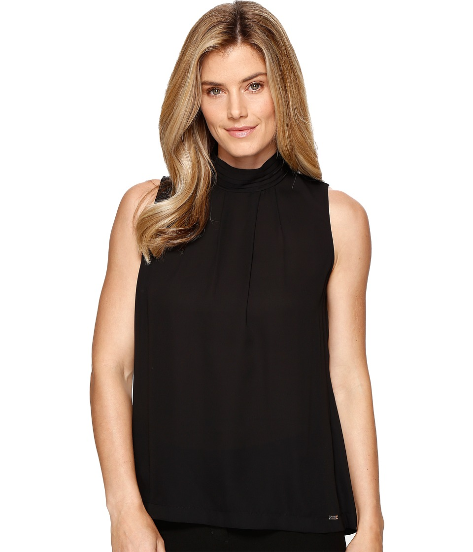Ivanka Trump - Sleeveless Georgette Woven Blouse (Black) Women's Blouse