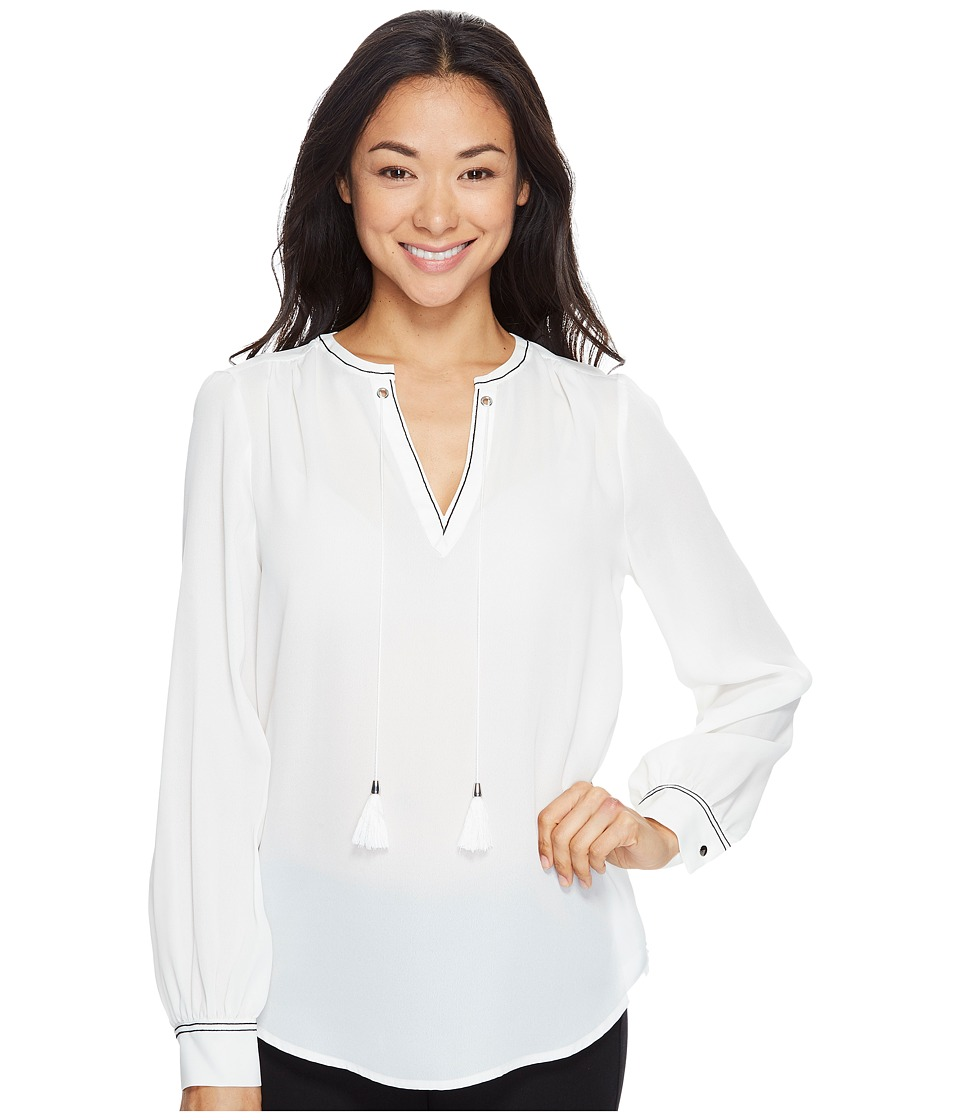 Ivanka Trump - Long Sleeve Woven Blouse with Tassles (Ivory) Women's Blouse