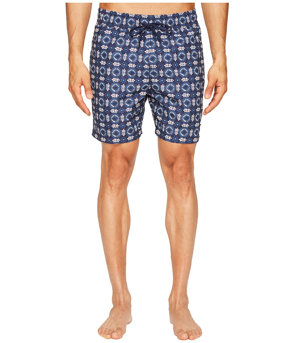 Jack Spade Flower Tile Swim Trunks (Navy) Men