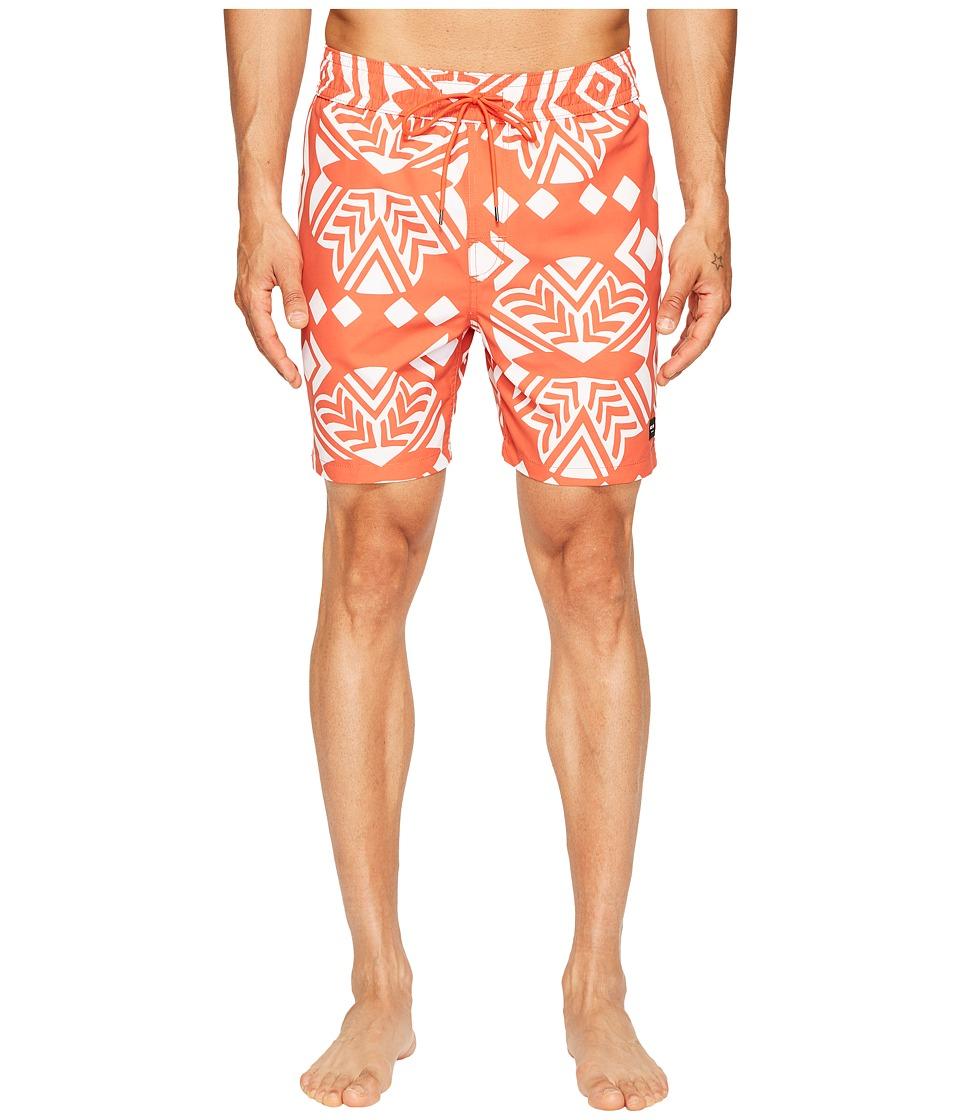 Jack Spade Exploded Mexican Flower Swim Trunks (Orange) Men