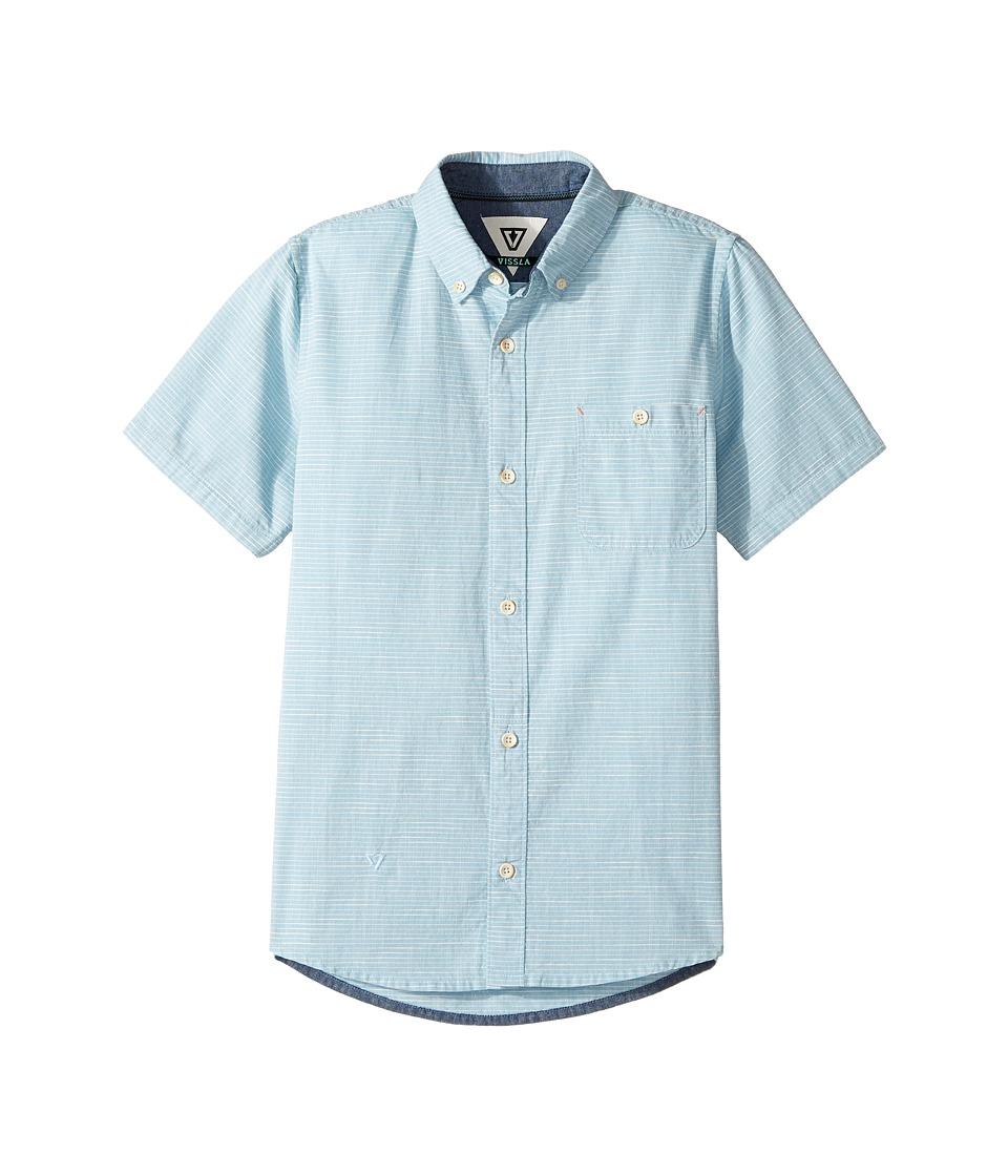 VISSLA Kids - Pulses Short Sleeve Woven (Big Kids) (Blue Fog) Boy's Clothing