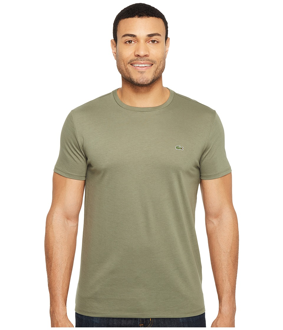 Lacoste - Short Sleeve Pima Crew Neck Tee (Army) Men's T Shirt