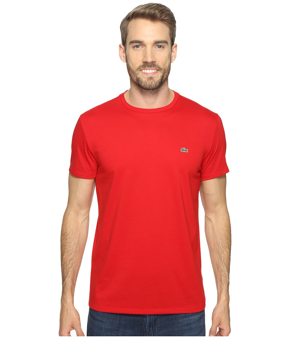 Lacoste - Short Sleeve Pima Crew Neck Tee (Red) Men's T Shirt