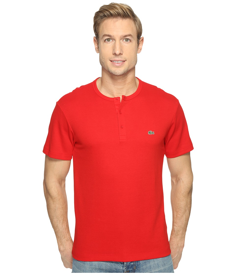 Lacoste - Double Face Cotton Henley (Red) Men's Clothing