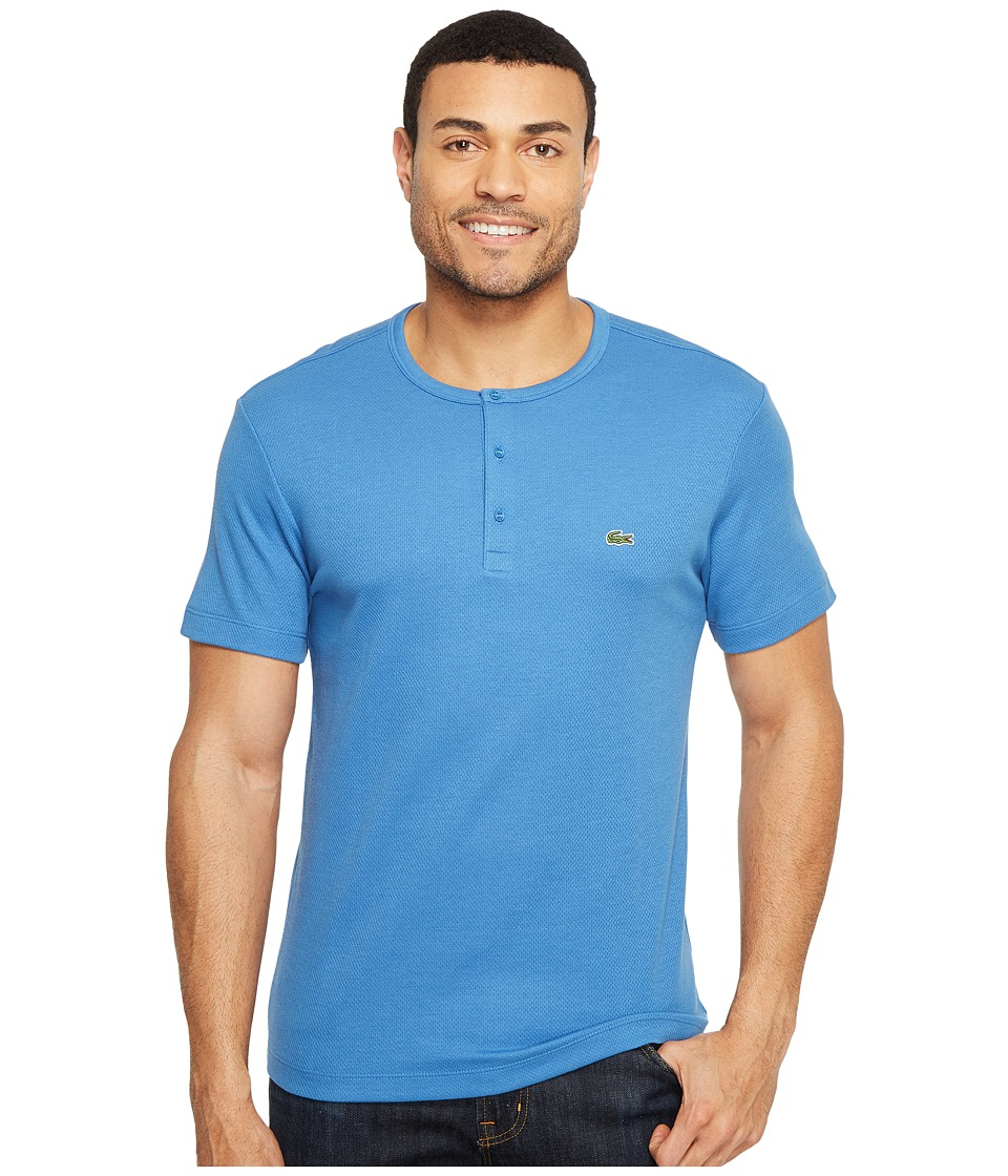 Lacoste Double Face Cotton Henley (Thermal Blue) Men