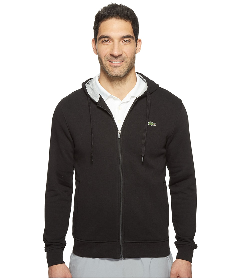 Lacoste - Sport Full Zip Hoodie Fleece Sweatshirt (Black/Silver Chine) Men's Sweatshirt