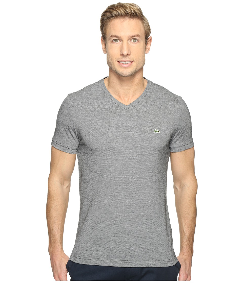 Lacoste - V-Neck Stripe T-Shirt (Black/White) Men's T Shirt
